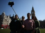 Tourists Enjoy The Spring Sunshine In London