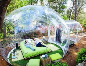 French Bubble Hotel Huge Plastic Globe Outdoor Lodging