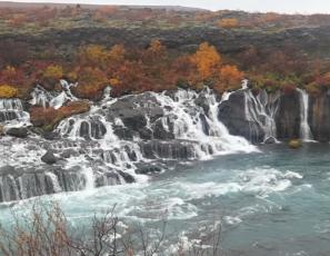 Photographing Hraunfossar waterfall, West Iceland