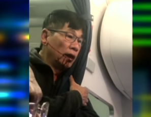 Man forcibly taken off an overbooked United Airlines flight.