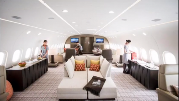FLIGHT OF FANCY The world's best private jet, dubbed 'the flying penthouse' arrives in London