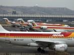 An Iberia passenger plane taxis on the tarmac
