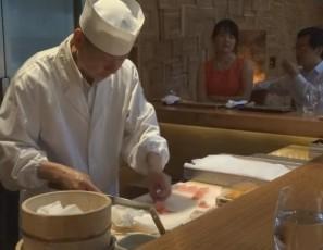 Chef Ichimura Preparing Toro at Brushstroke in NYC
