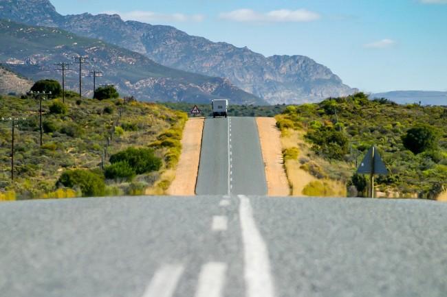 Route on asphalt